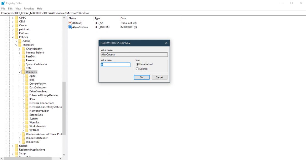 allowcortana  registry turn off disable windows