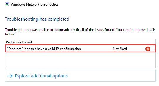 hot to fix ethernet wifi doesn't have a valid ip configuration windows 10
